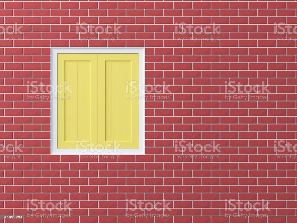 Opaque  window on brick wall royalty-free stock photo