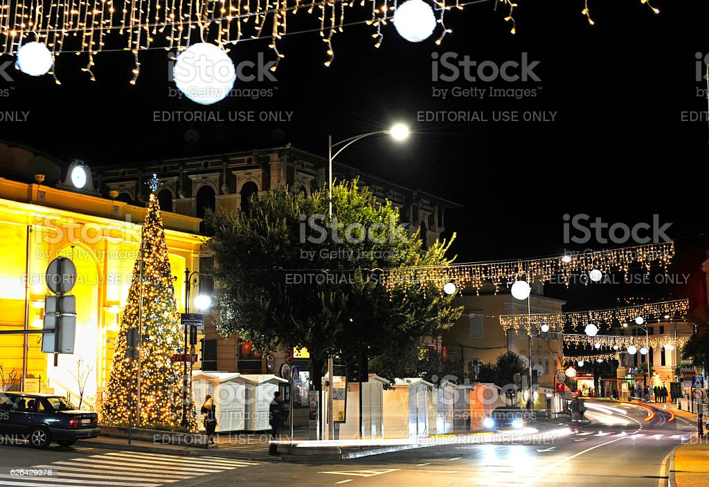 Opatija in christmas time stock photo