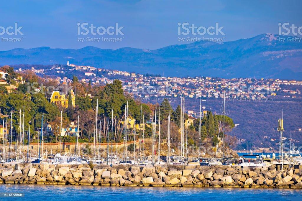 Opatija marina in Icici panoramic view with historic villas, Kvarner bay, Croatia stock photo