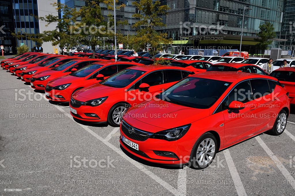 Opel Astra cars on the parking stock photo