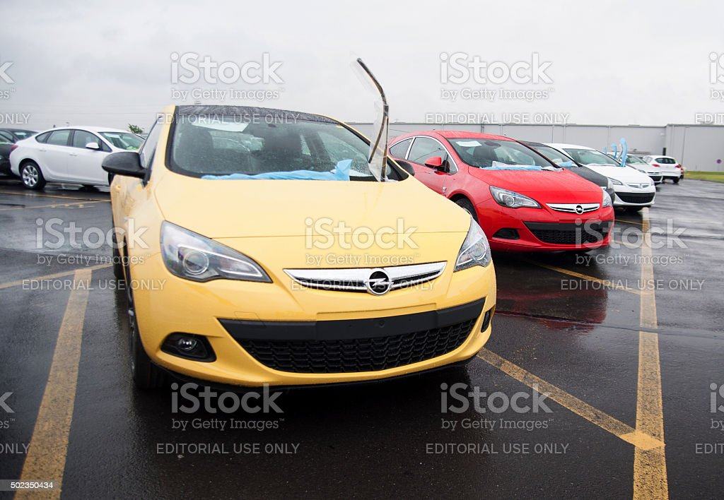 Opel Astra GTC in the car assembly plant stock photo