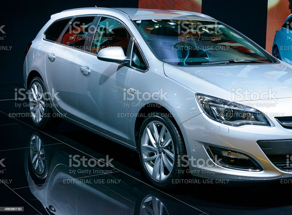 Opel Astra Sports Tourer Estate car side view stock photo