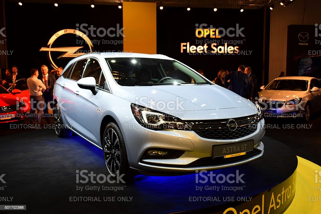 Opel Astra Sports Tourer on the motor show stock photo