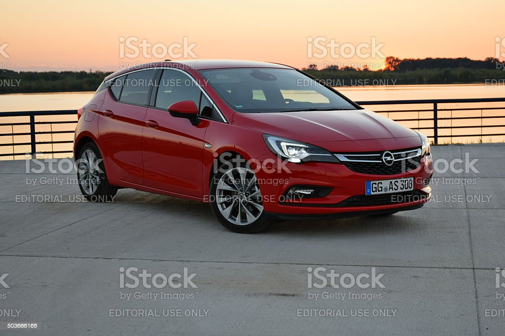 Opel Astra V in the sunset stock photo