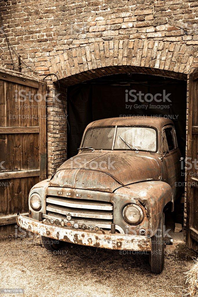 Opel Blitz truck barnfind stock photo