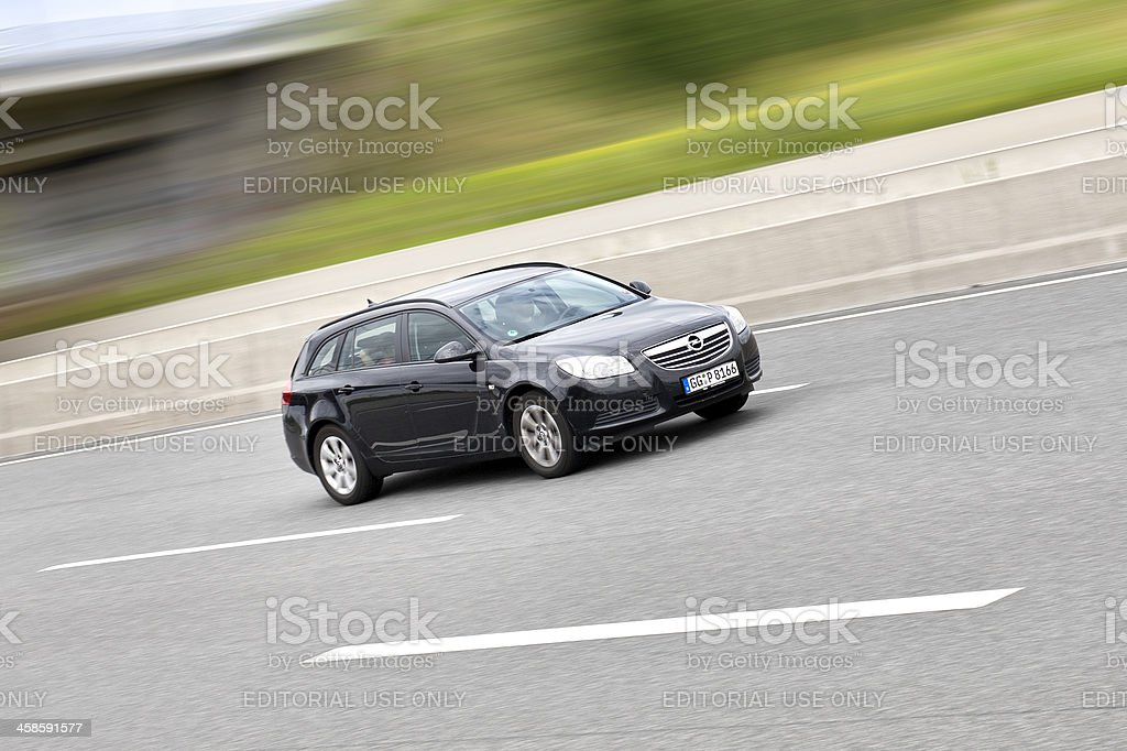 Opel Insignia station wagon, high speed stock photo