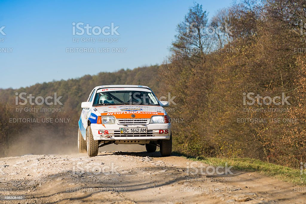 Opel Kadett  competes at the annual Rally Galicia stock photo