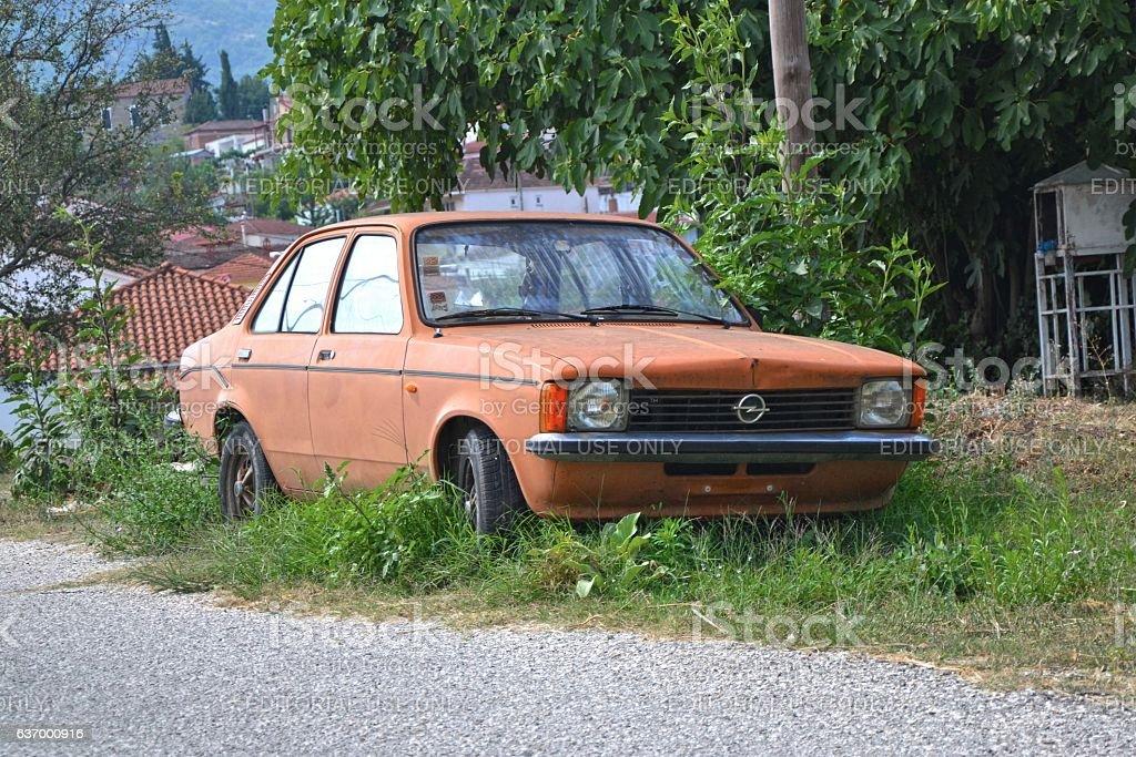 Opel Kadett dying on the street stock photo
