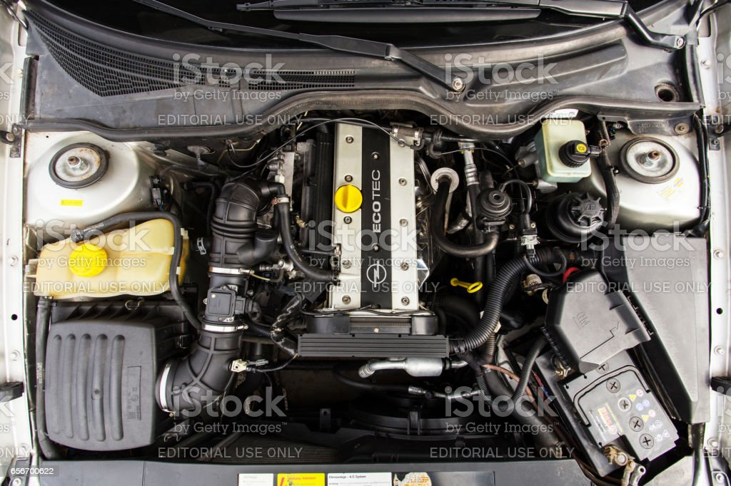 Opel Omega with an open hood stock photo