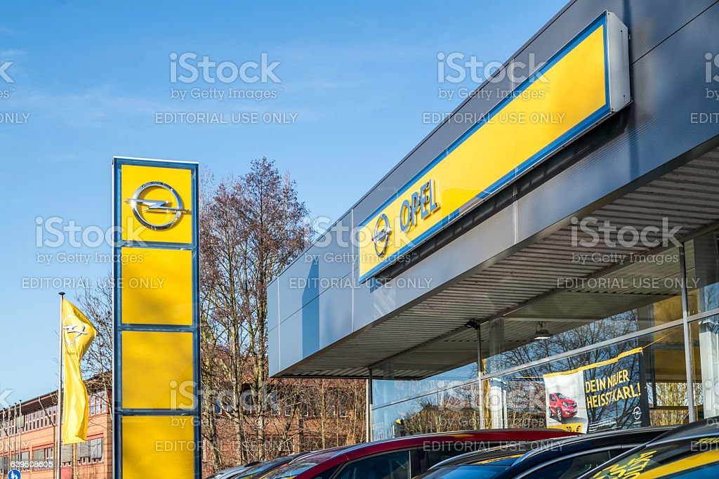 Opel sign with blue sky in background stock photo