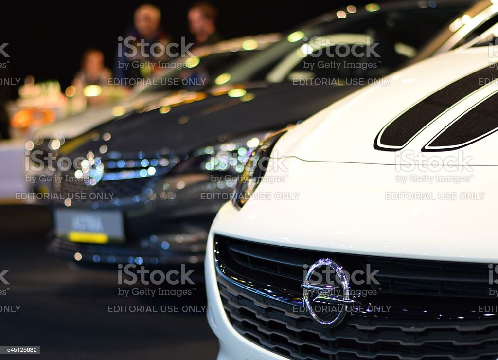 Opel vehicles on the motor show stock photo