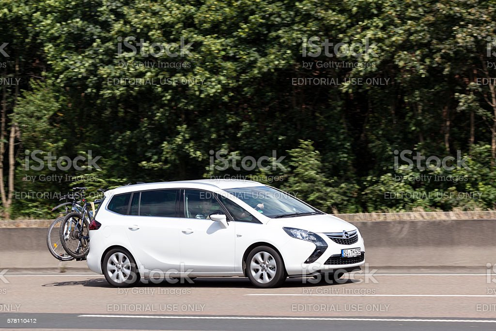 Opel Zafira Compact MPV on the road stock photo