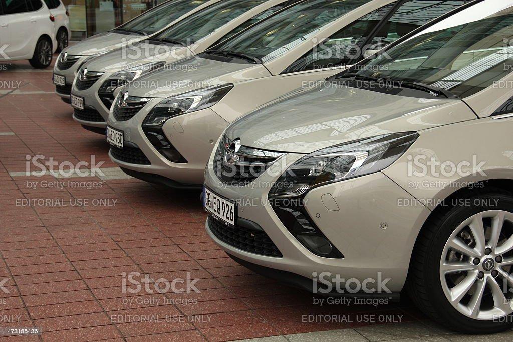 Opel Zafira vans in a row stock photo