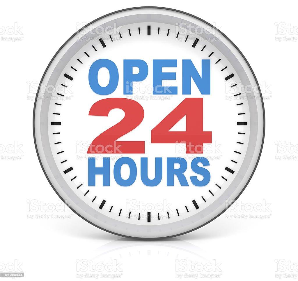 Open 24 Hours Clock stock photo