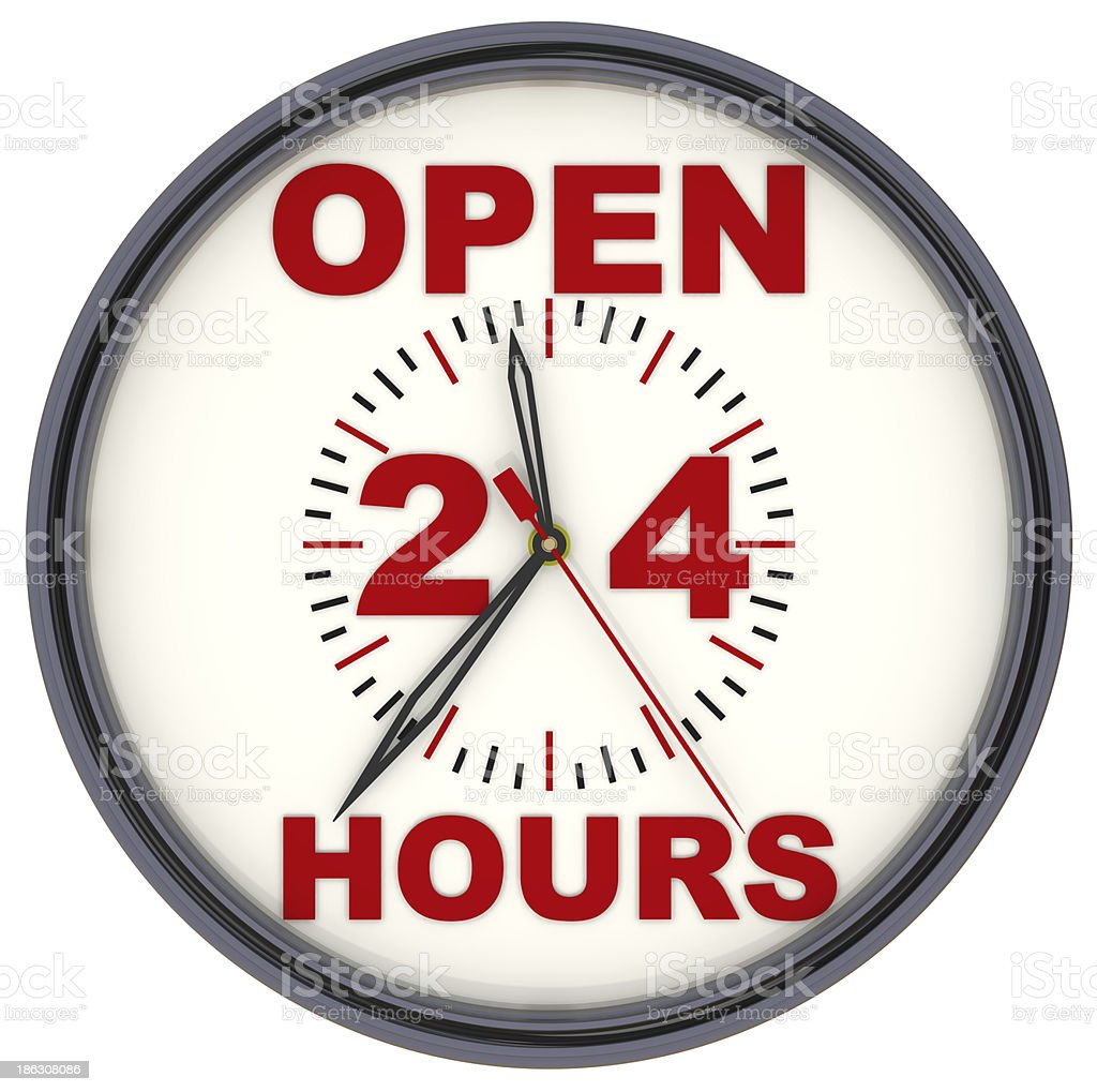 Open 24 Hours Clock royalty-free stock photo