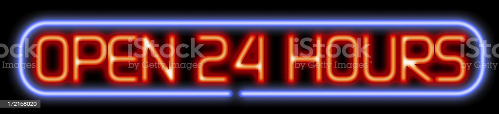 Open 24 hours neon stock photo