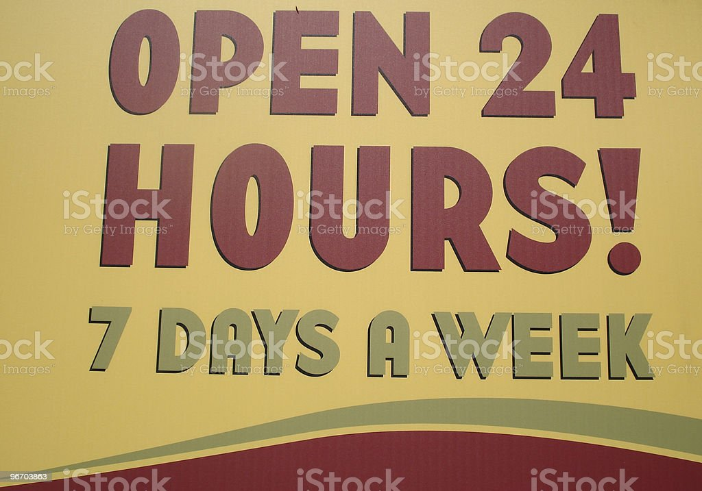 open 24 hours royalty-free stock photo
