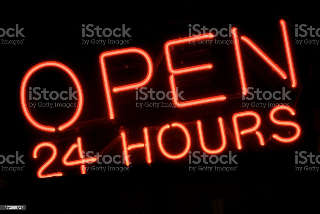 Open 24 Hours Red Neon Sign stock photo