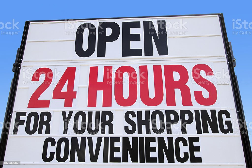 Open 24 Hours Sign royalty-free stock photo