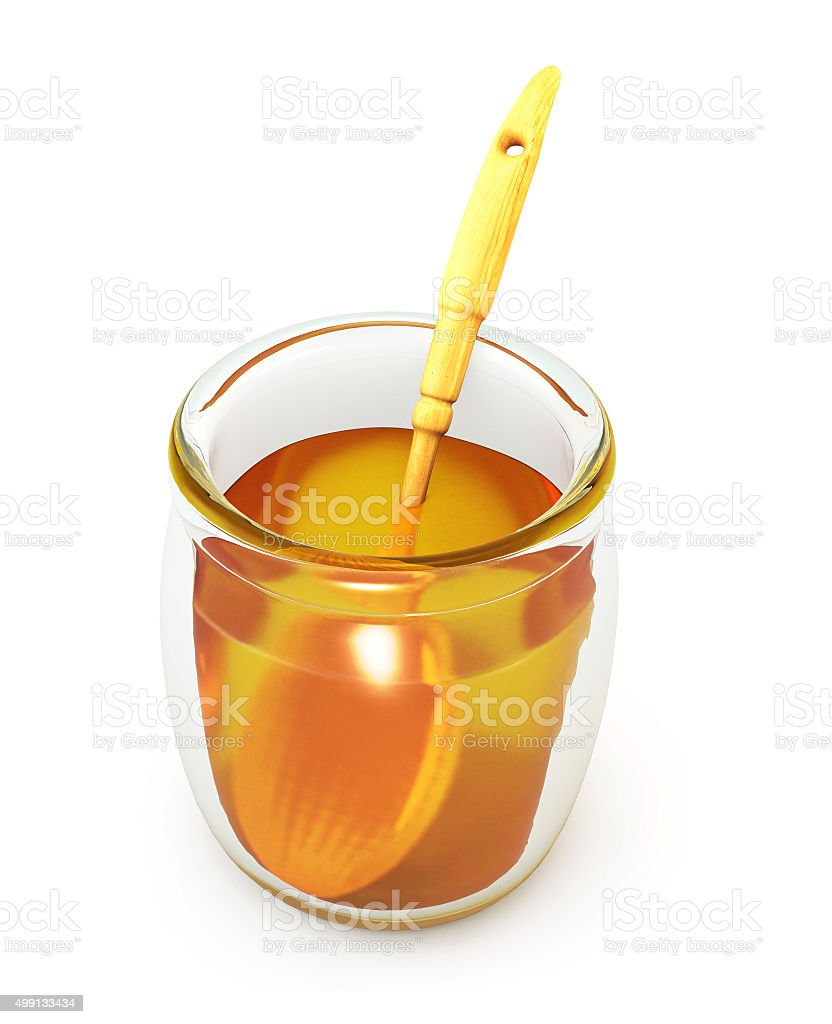 Open a jar of honey with wooden spoon stock photo