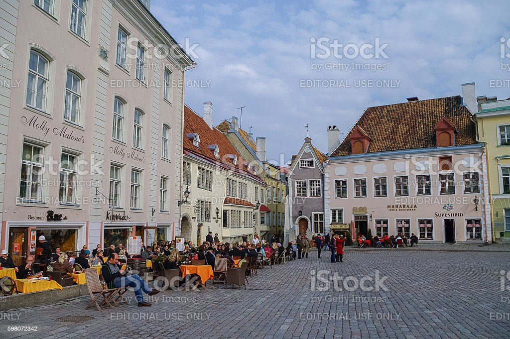 Open air cafe on Town Hall Square stock photo