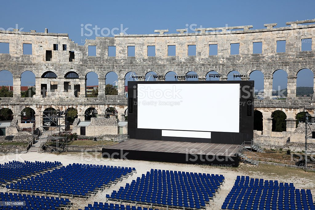 Open Air Cinema in Roman Arena, Pula royalty-free stock photo