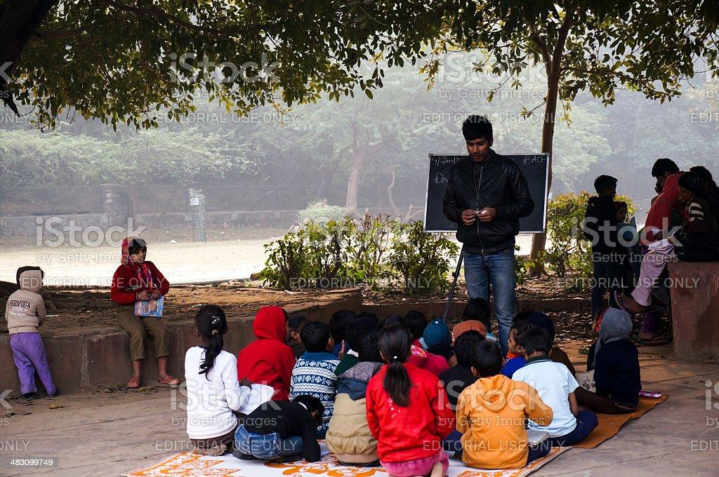 Open air classroom at hauz khas stock photo