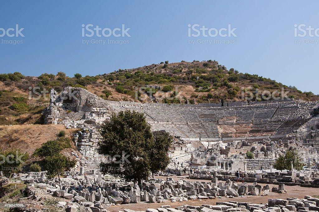 Open air greek-roman amphitheater ruins in Ephesus near Selcuk, Turkey royalty-free stock photo