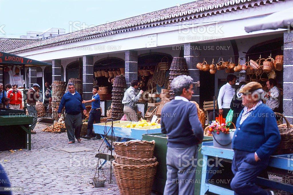 open air market in Ponta Delgada, Azores 1981 stock photo