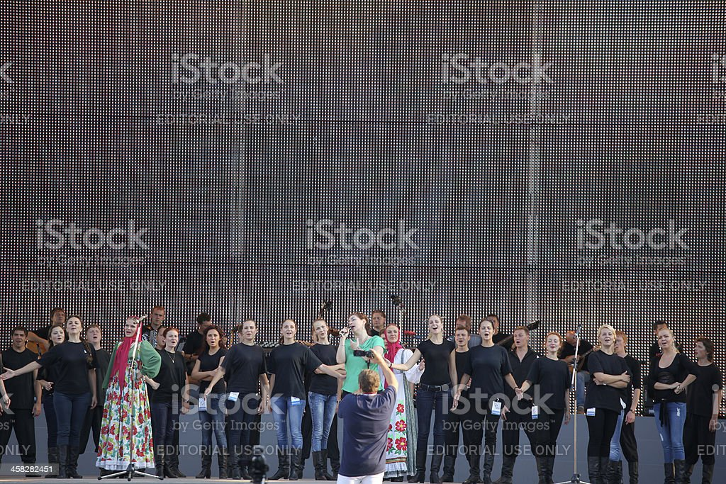 Open air rehearsal of a russian event in Berlin royalty-free stock photo