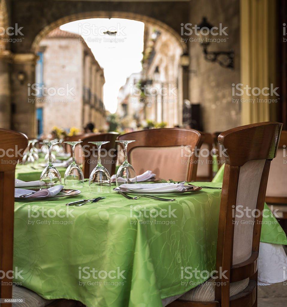 Open air restaurant in Havana Cuba stock photo
