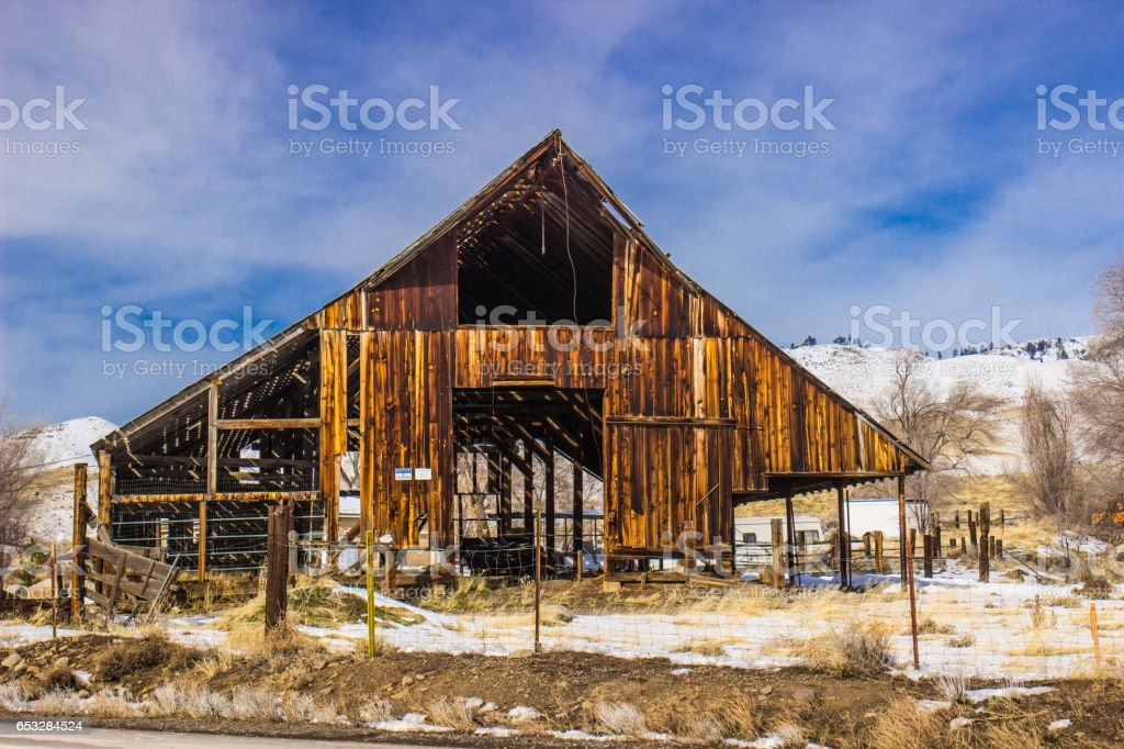 Open Air Rustic Barn On Winter Day stock photo