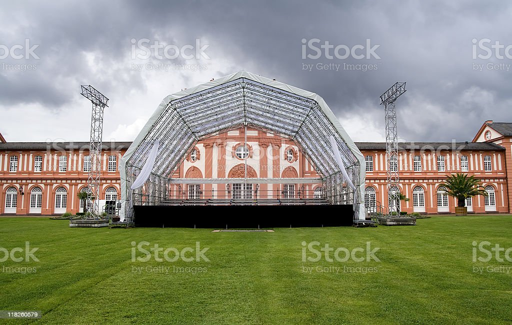 Open air stage - approaching thunderstorm royalty-free stock photo