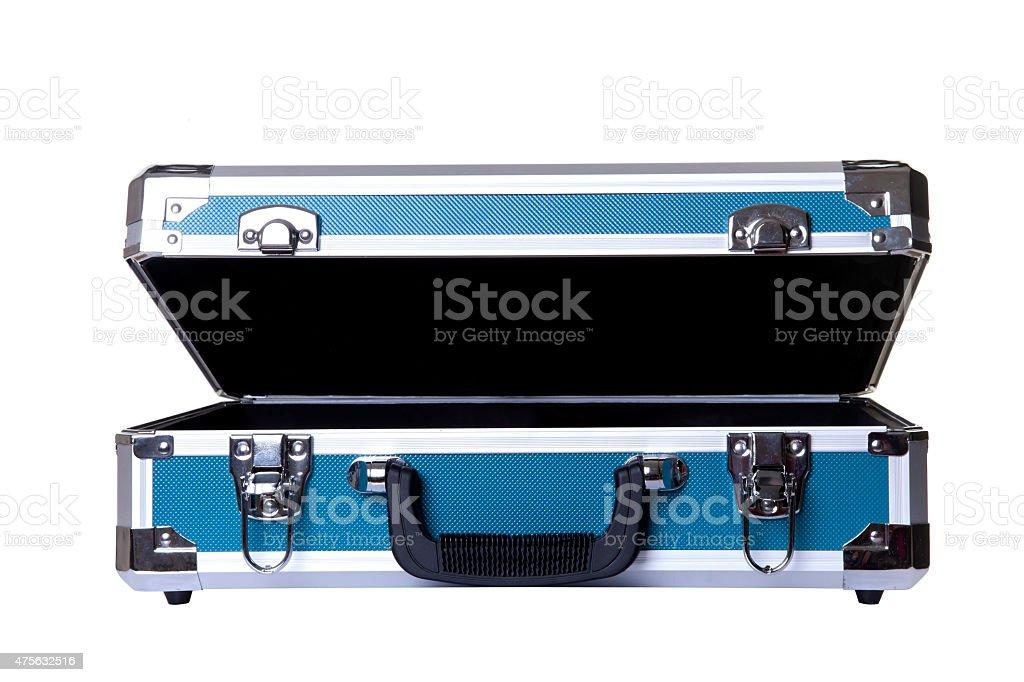 open aluminum briefcase stock photo