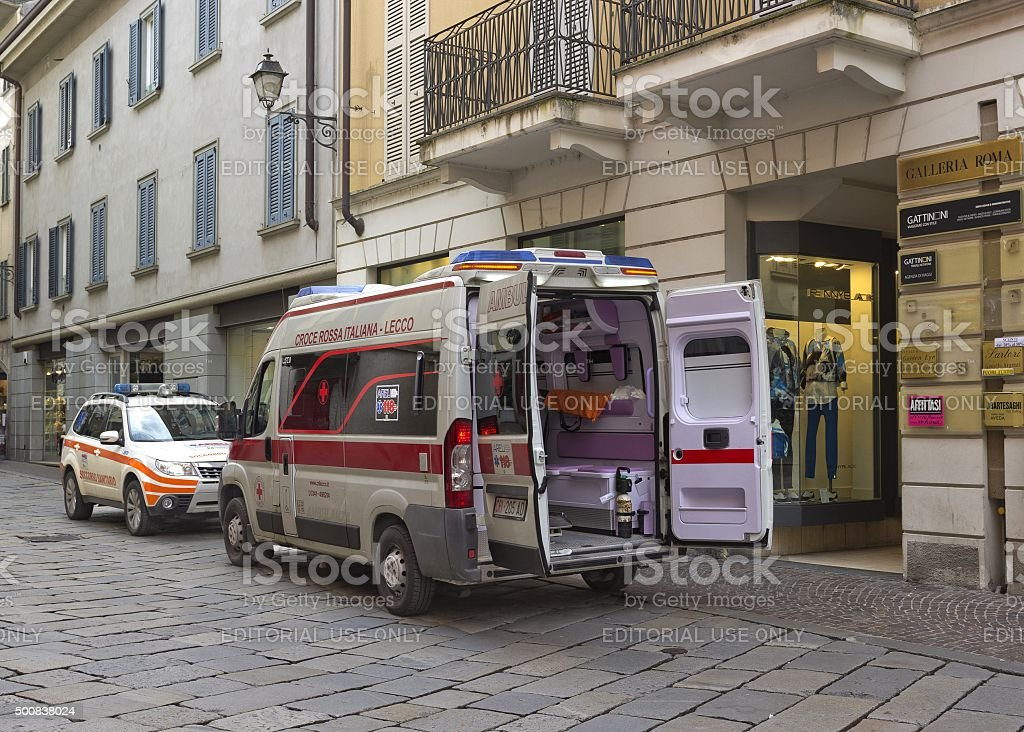 Open ambulance on the street in Lecco, Italy stock photo