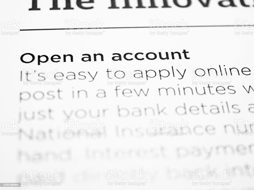 Open an account stock photo