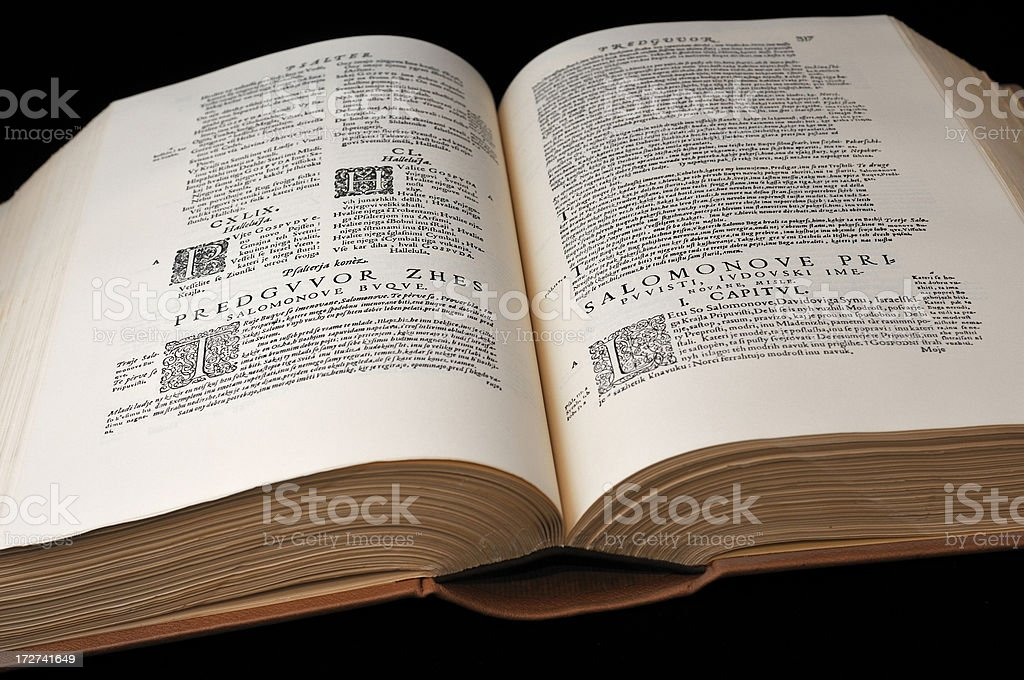 Open Ancient Book stock photo