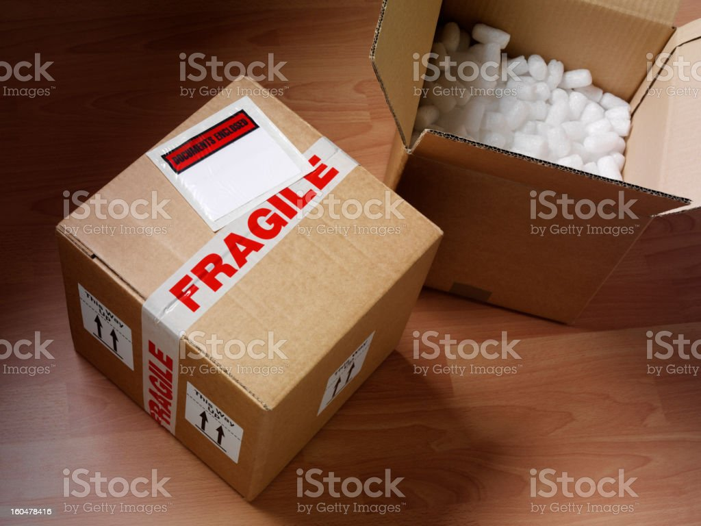 Open and Closed Cardboard Box stock photo