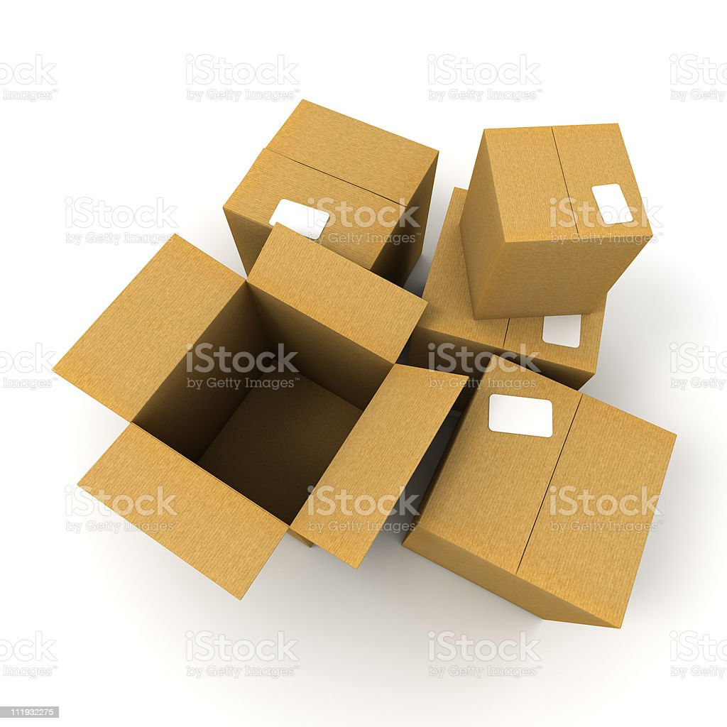 Open and closed cartons royalty-free stock vector art