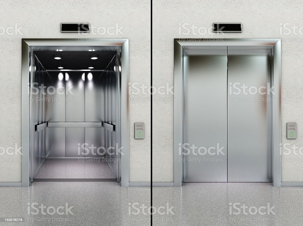 Open and closed elevator stock photo