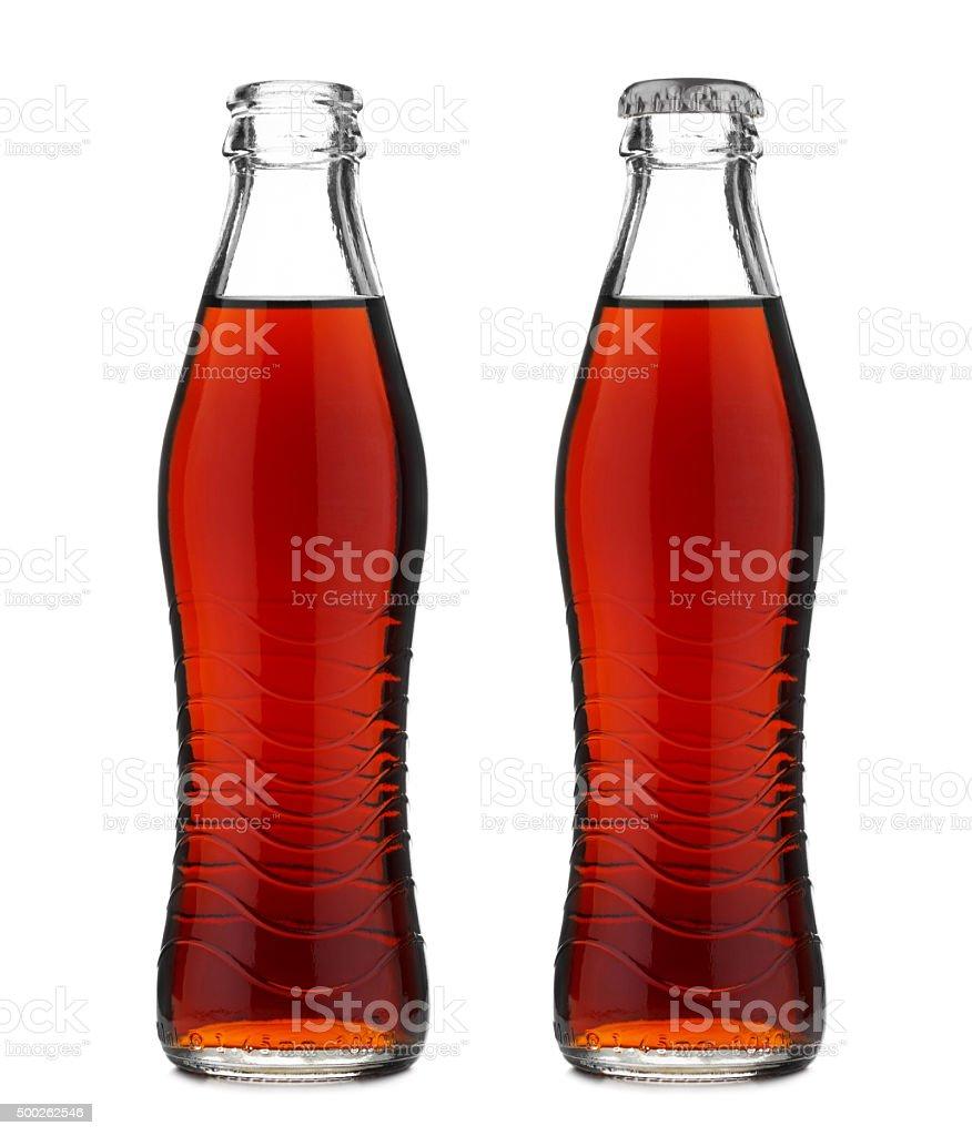 Offene Und Geschlossene Glas Mit Colaflasche Alkoholfreies Getränk ...
