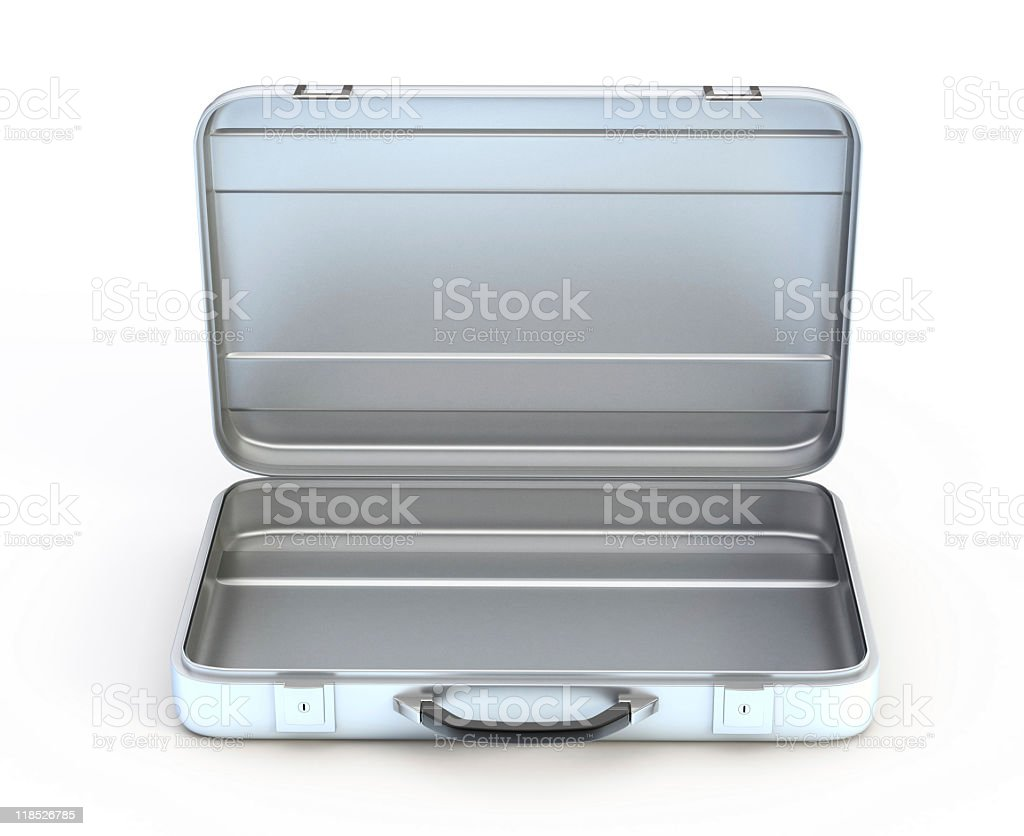 Open and empty metal case on white background stock photo