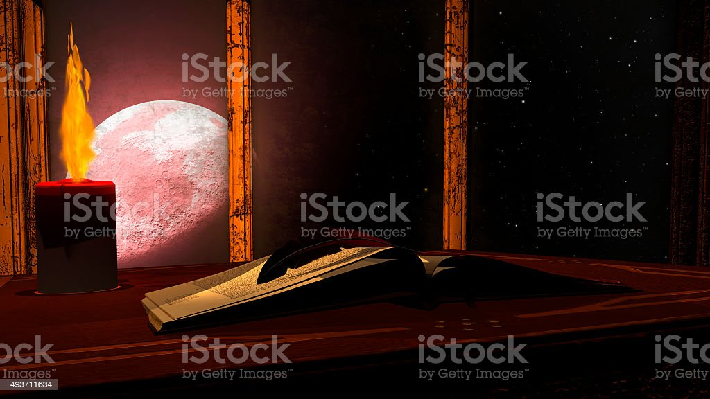 Open antique book and burning candle on red moon background stock photo