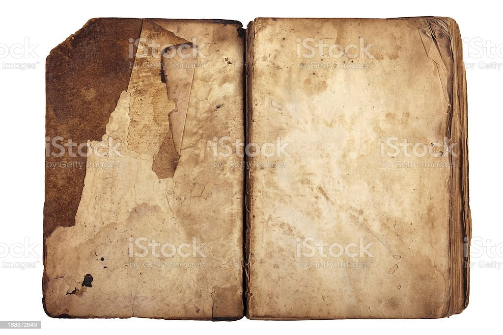 Open antique book stock photo
