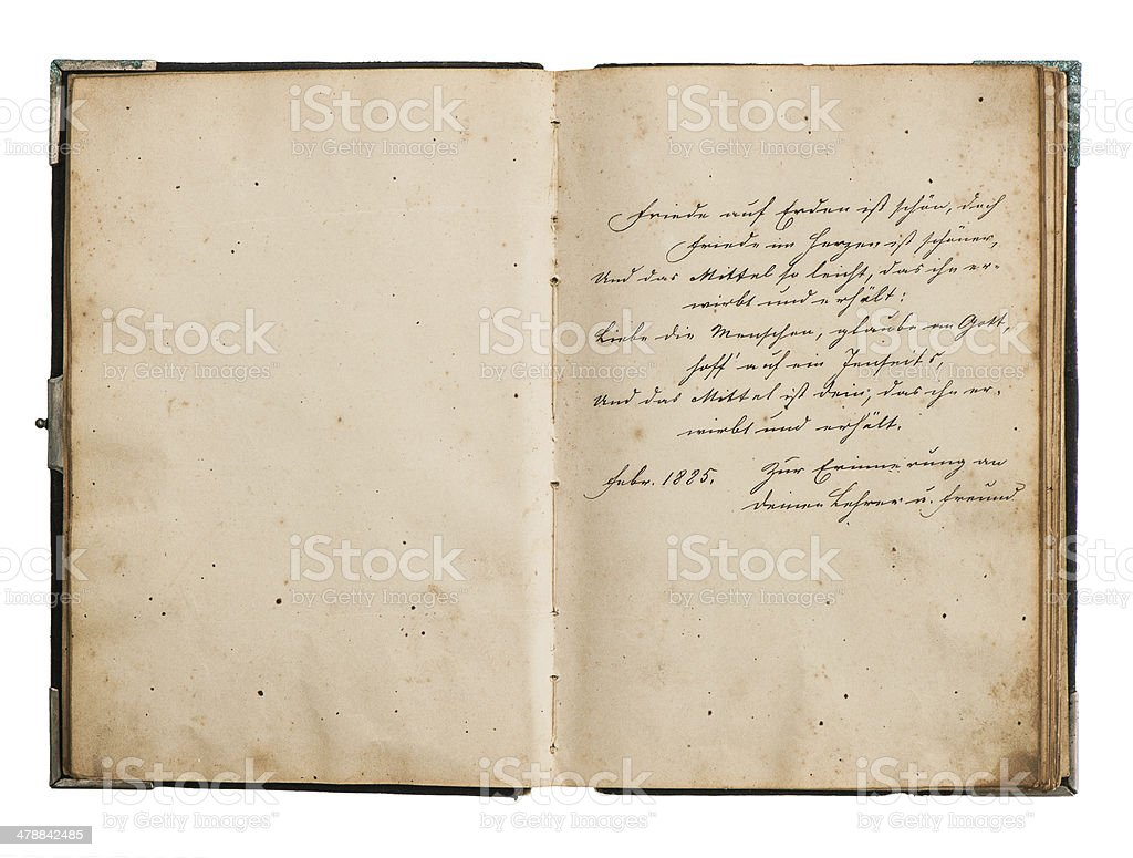 open antiquebook with old undefined text stock photo
