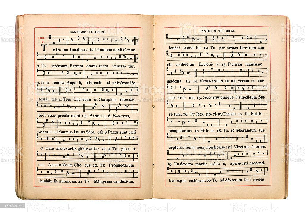 Open antique sheet music book royalty-free stock photo