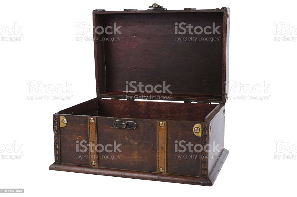 Open antique wooden trunk royalty-free stock photo