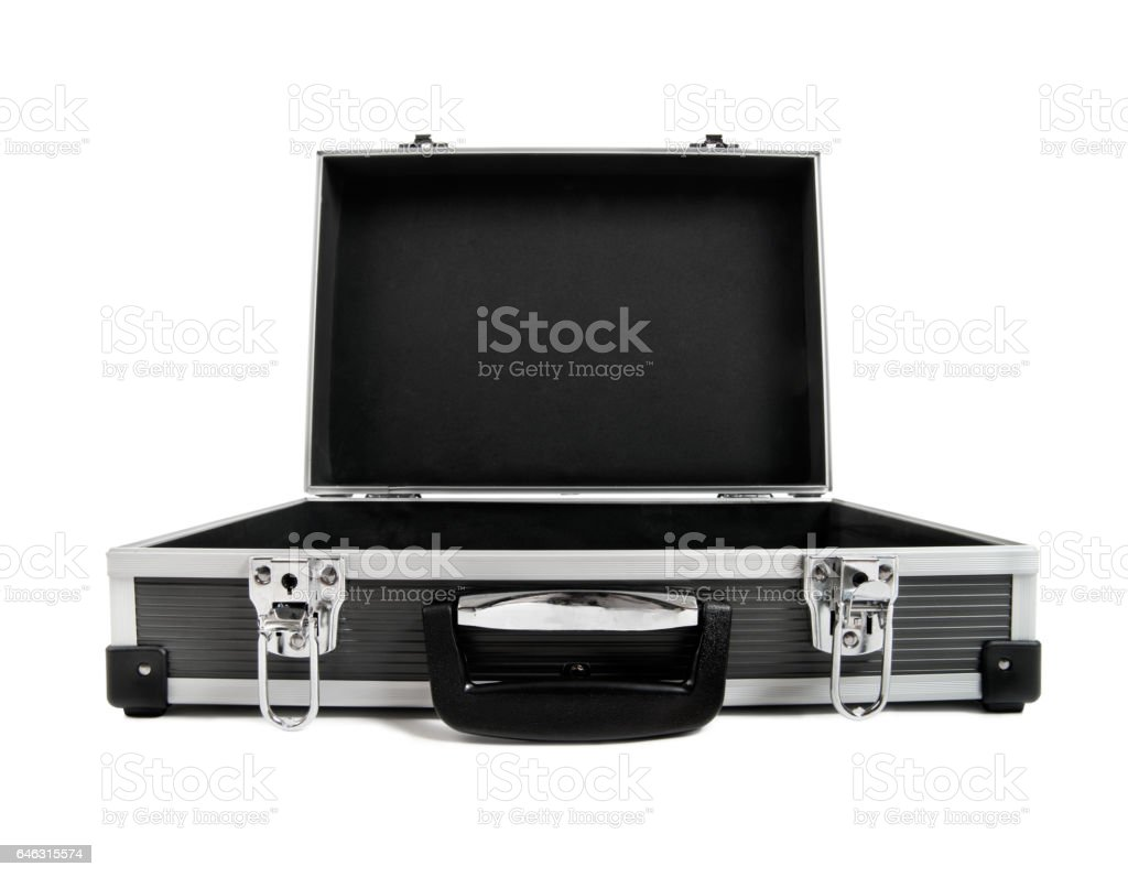 open armored black case for money stock photo