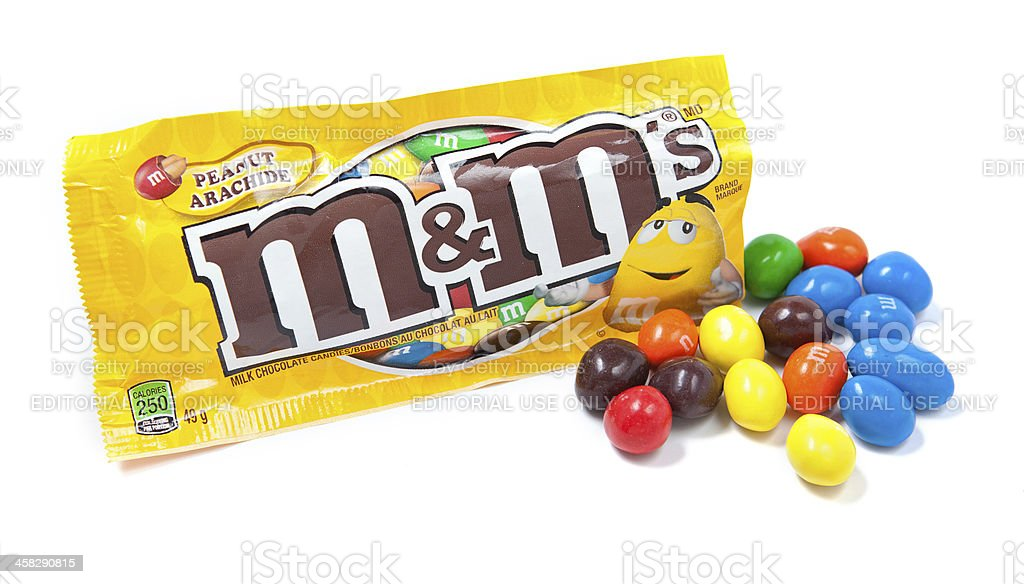 Open Bag of M&M's Milk Chocolate Candies stock photo