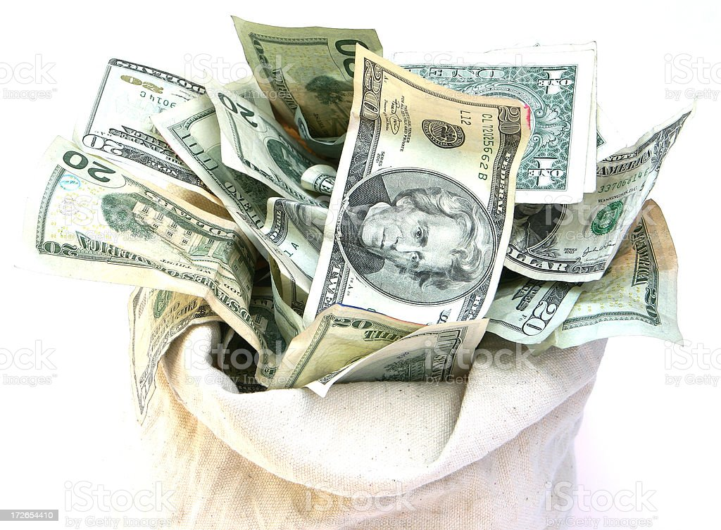 Open Bag of Money royalty-free stock photo